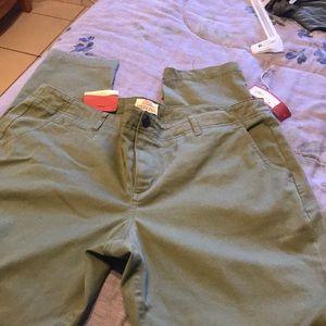Green straight leg pants